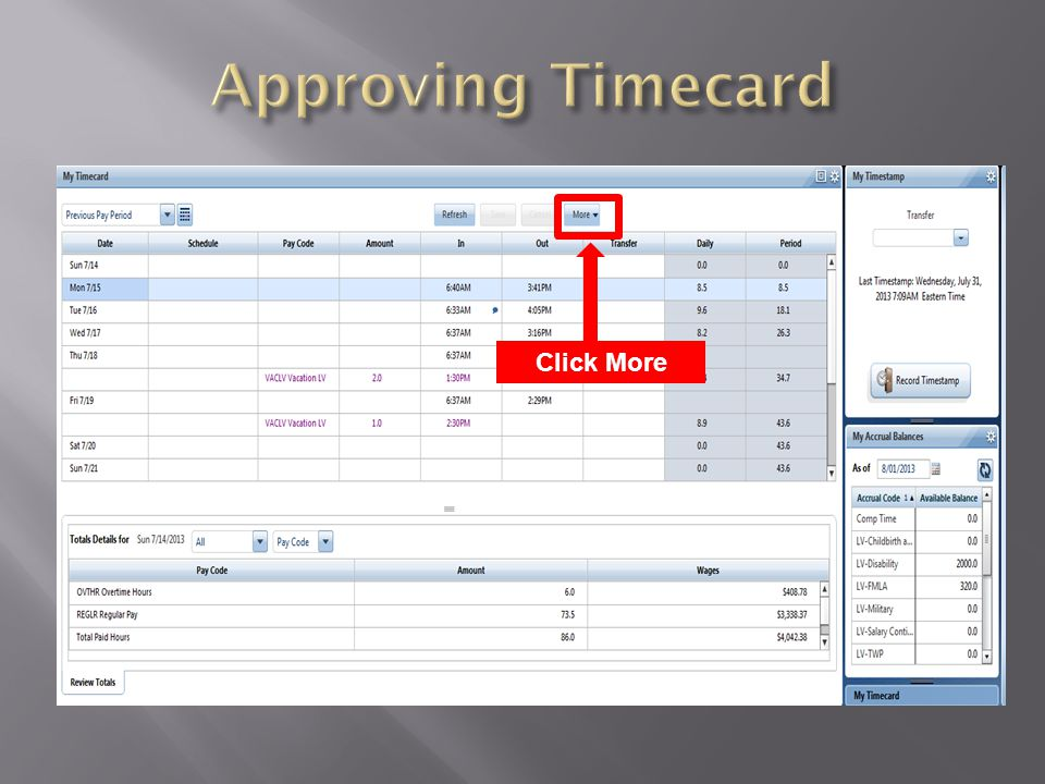 Approving Timecard Click More