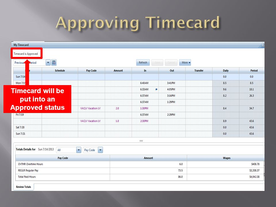 Timecard will be put into an Approved status