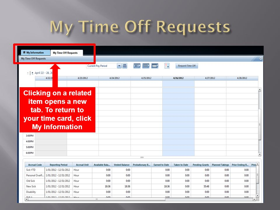 My Time Off Requests Clicking on a related item opens a new tab. To return to your time card, click My Information.