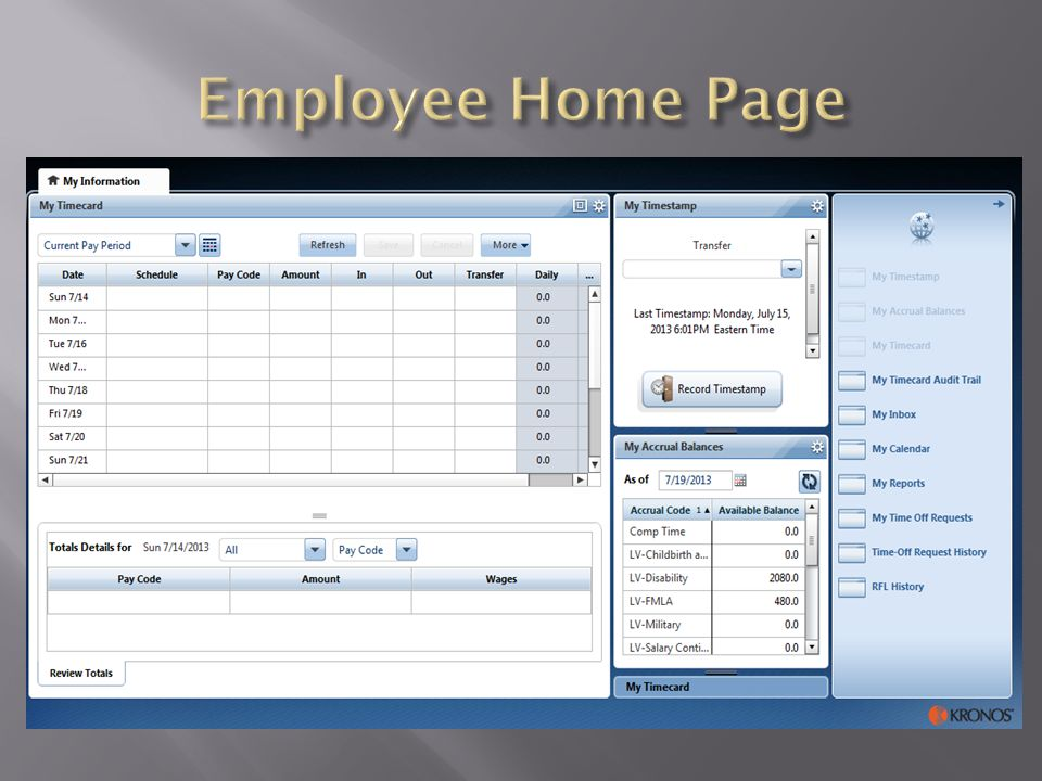 Employee Home Page When an employee signs into Kronos, this will be the default screen they will see.
