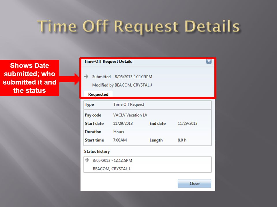 Time Off Request Details
