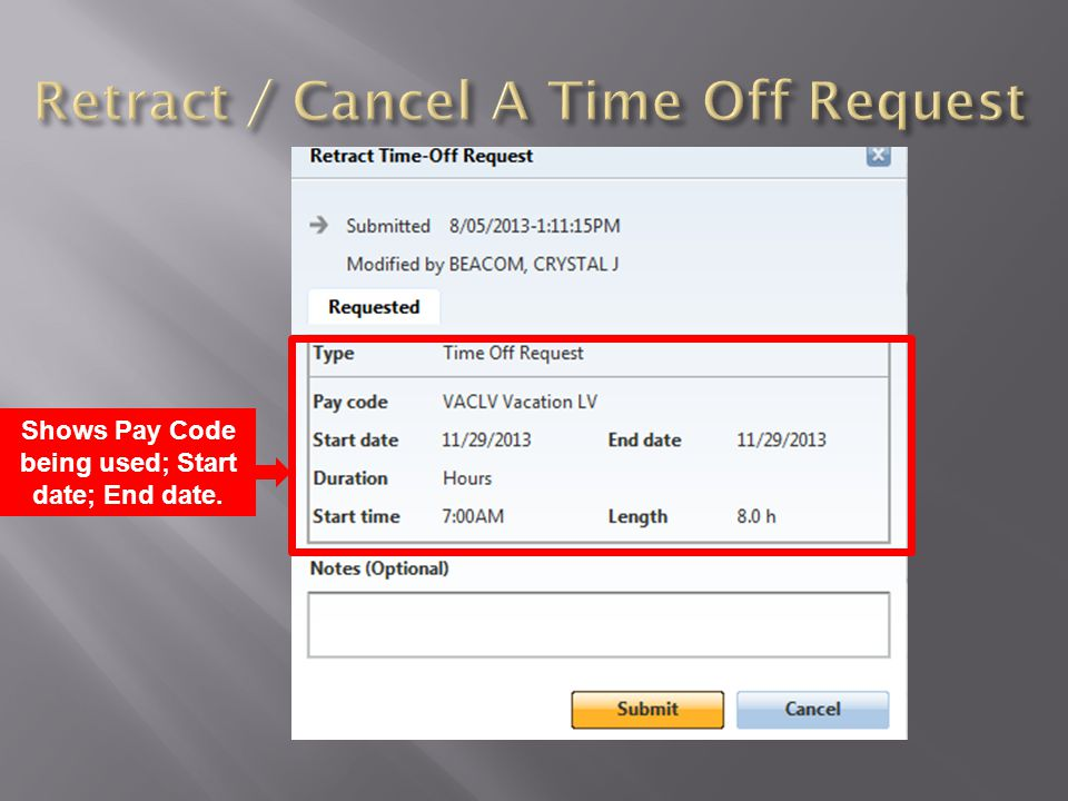 Retract / Cancel A Time Off Request