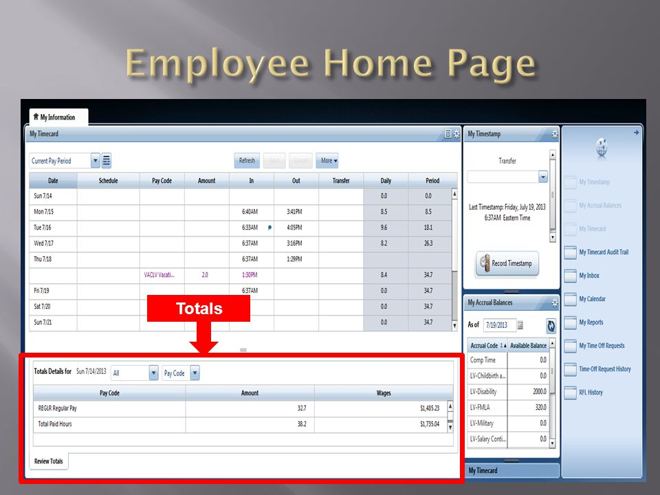 Employee Home Page Totals