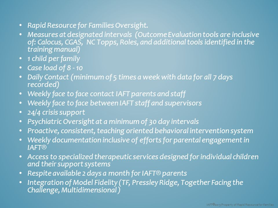 Rapid Resource for Families Oversight.