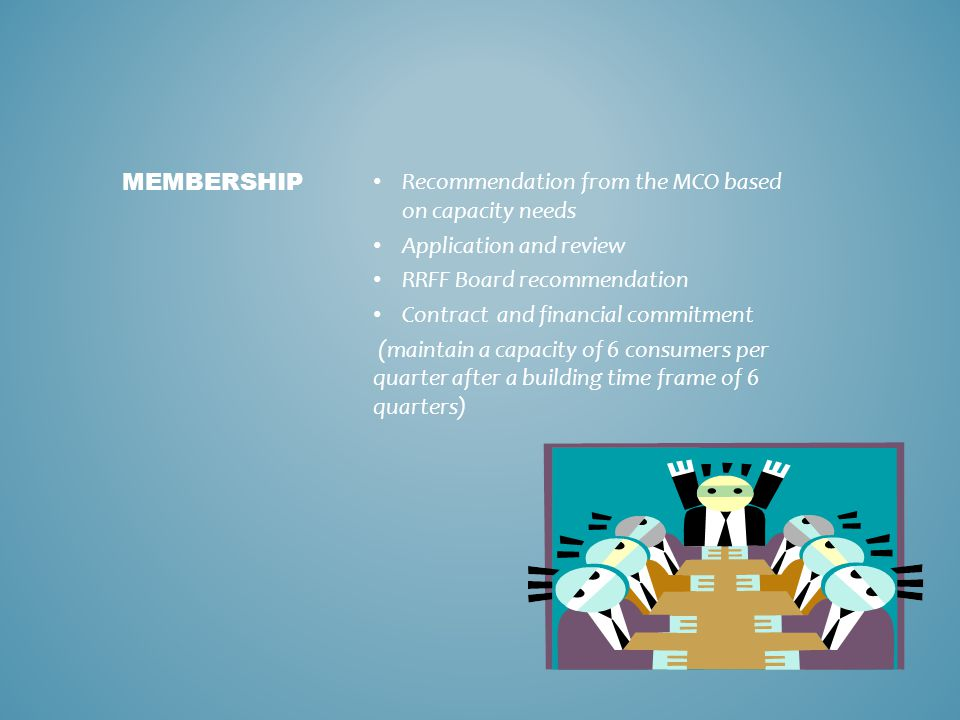 Membership Recommendation from the MCO based on capacity needs. Application and review. RRFF Board recommendation.