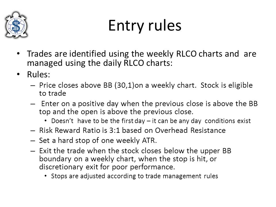 Entry rules Trades are identified using the weekly RLCO charts and are managed using the daily RLCO charts: