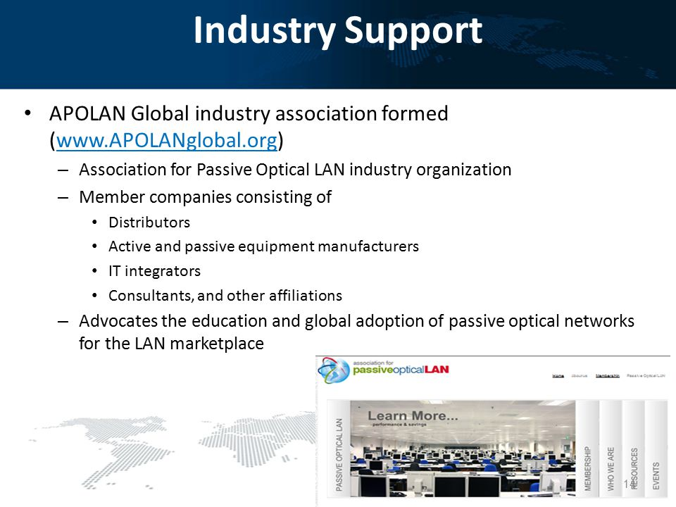 Industry Support APOLAN Global industry association formed (www.APOLANglobal.org) Association for Passive Optical LAN industry organization.