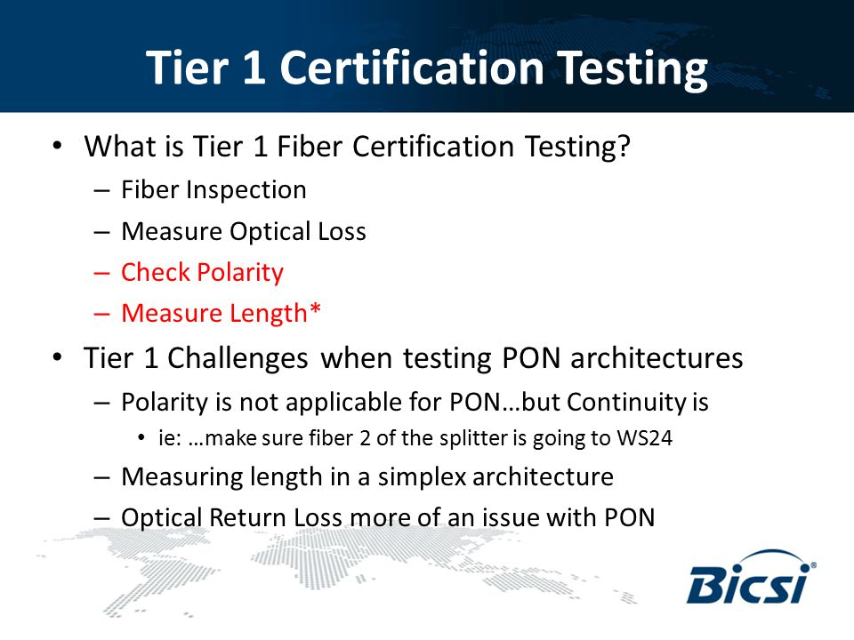 Tier 1 Certification Testing