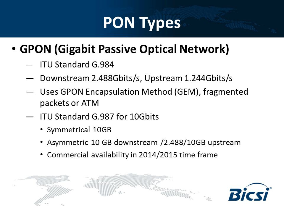 PON Types GPON (Gigabit Passive Optical Network)