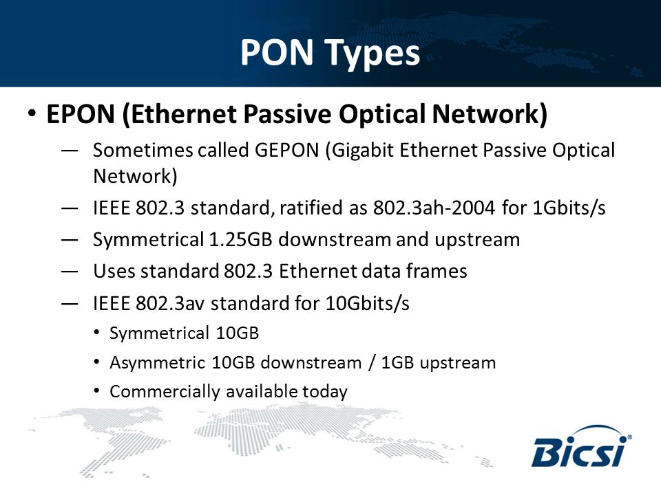 PON Types EPON (Ethernet Passive Optical Network)