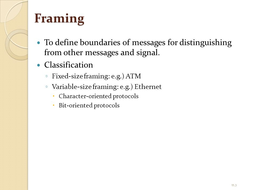 Framing To define boundaries of messages for distinguishing from other messages and signal. Classification.