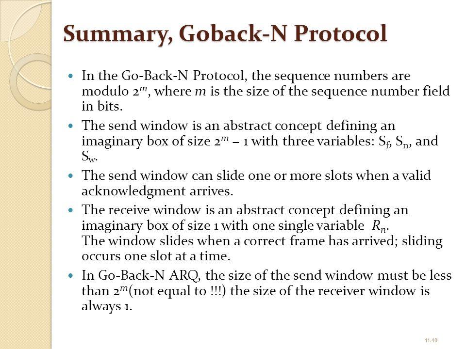 Summary, Goback-N Protocol