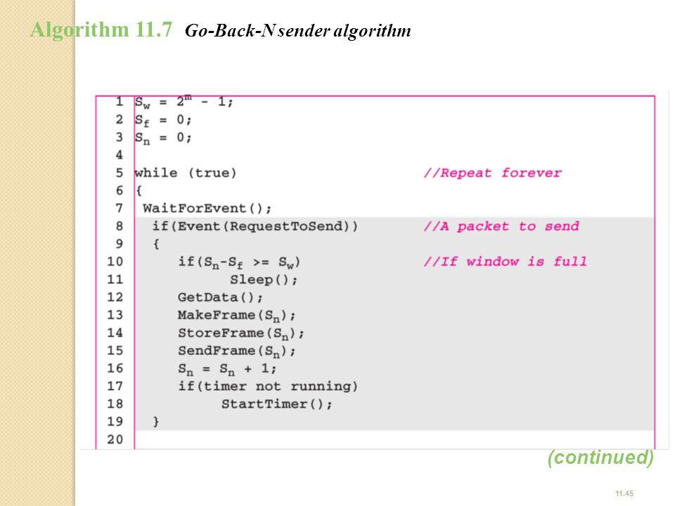 Algorithm 11.7 Go-Back-N sender algorithm