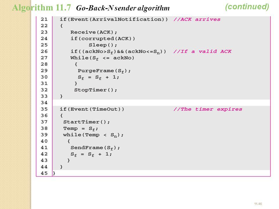 (continued) Algorithm 11.7 Go-Back-N sender algorithm