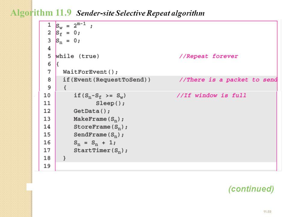 Algorithm 11.9 Sender-site Selective Repeat algorithm