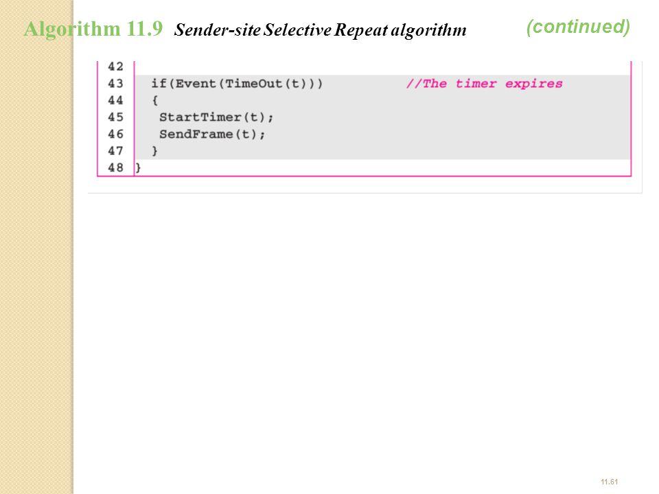 (continued) Algorithm 11.9 Sender-site Selective Repeat algorithm
