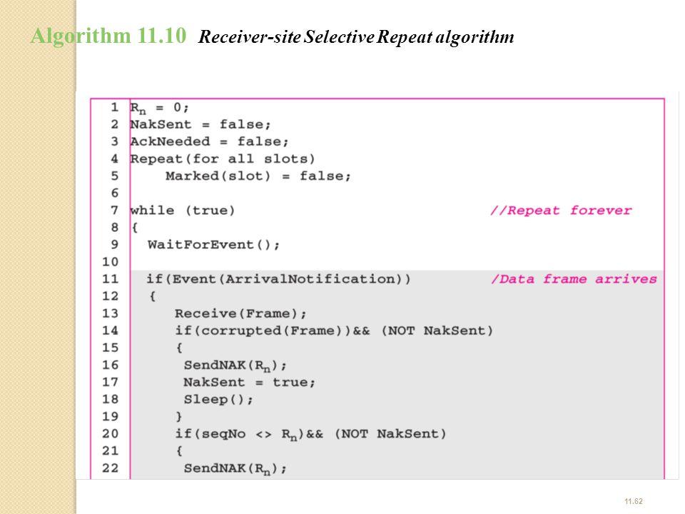 Algorithm 11.10 Receiver-site Selective Repeat algorithm