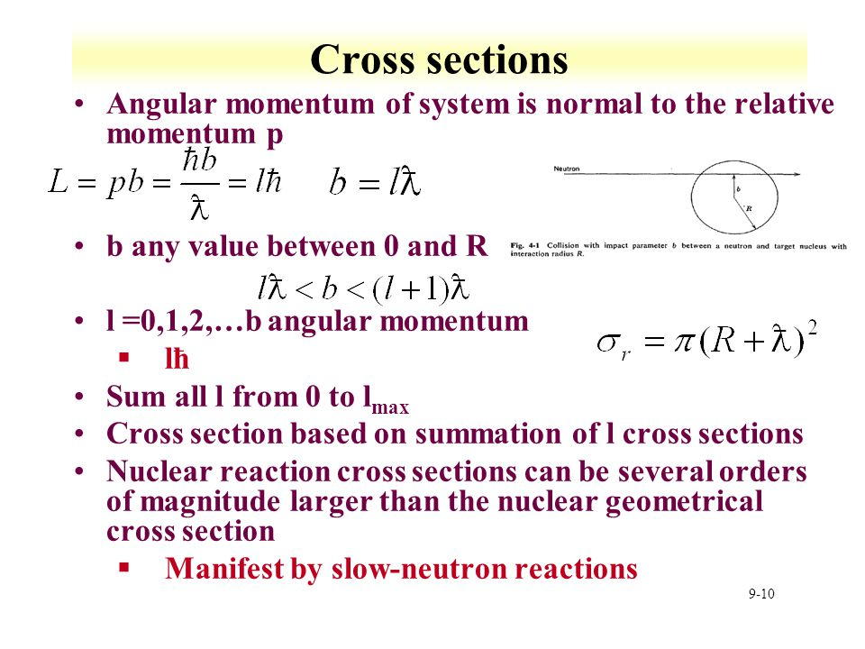 Cross sections Angular momentum of system is normal to the relative momentum p. b any value between 0 and R.