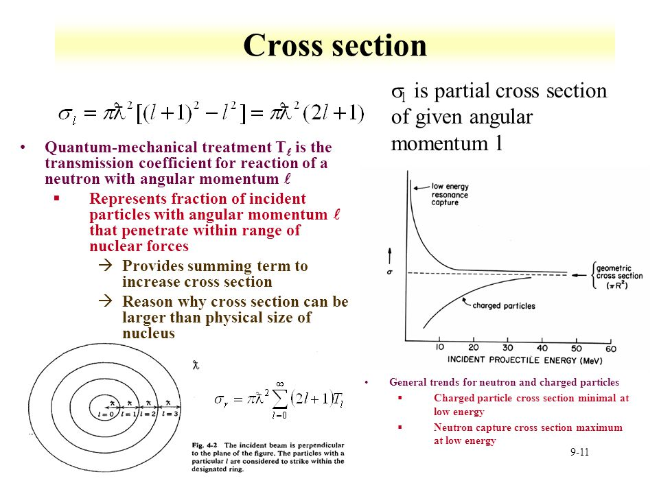 Cross section sl is partial cross section of given angular momentum l