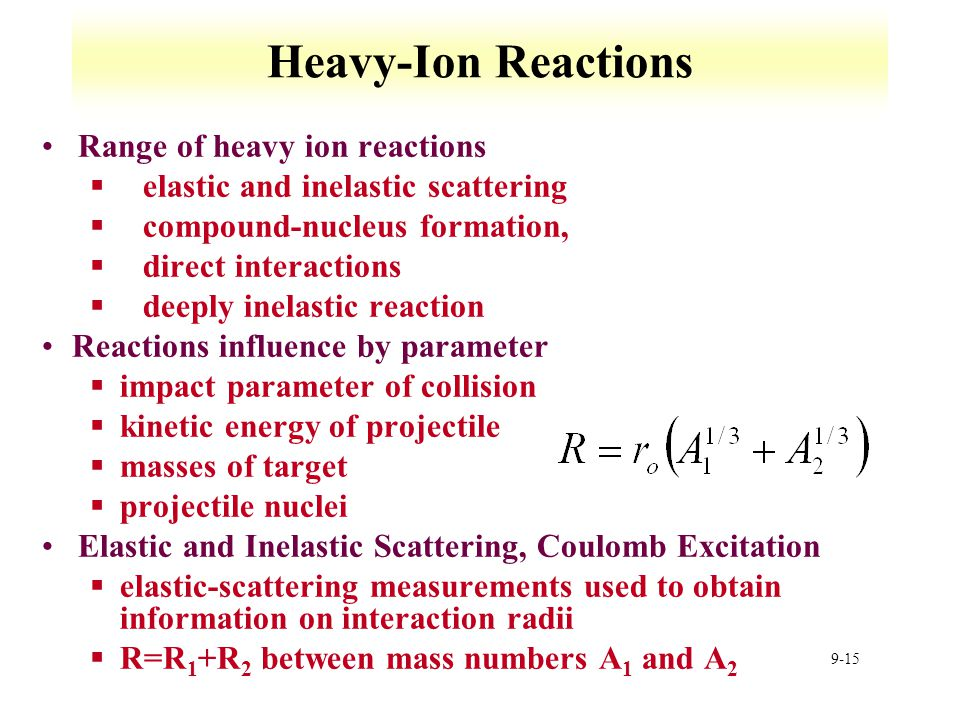 Heavy-Ion Reactions Range of heavy ion reactions