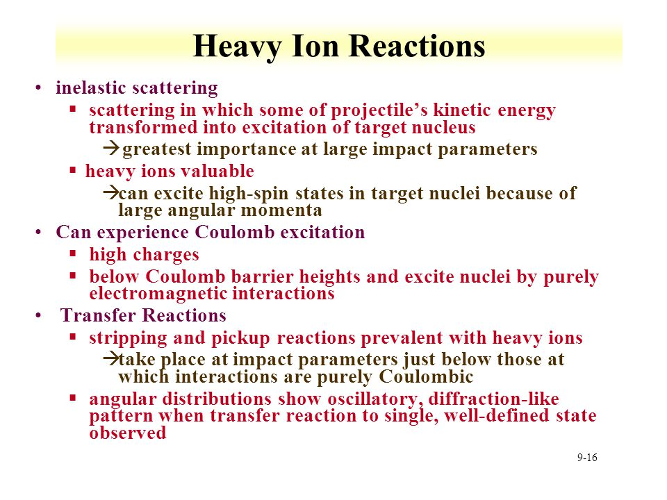 Heavy Ion Reactions inelastic scattering