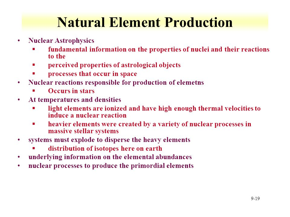 Natural Element Production