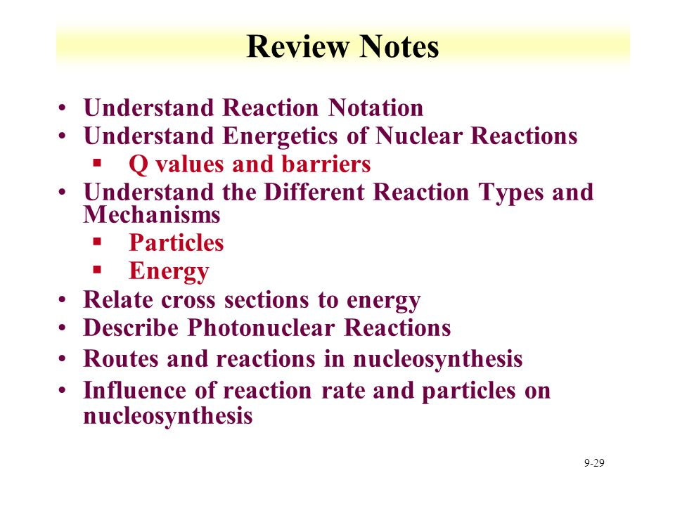 Review Notes Understand Reaction Notation