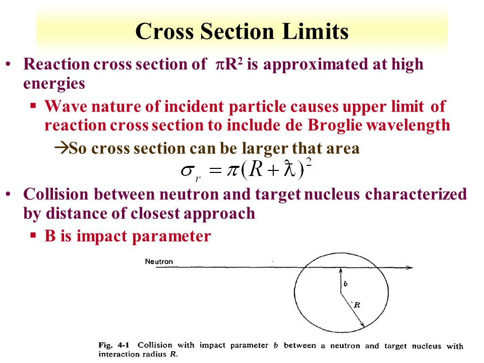 Cross Section Limits Reaction cross section of R2 is approximated at high energies.