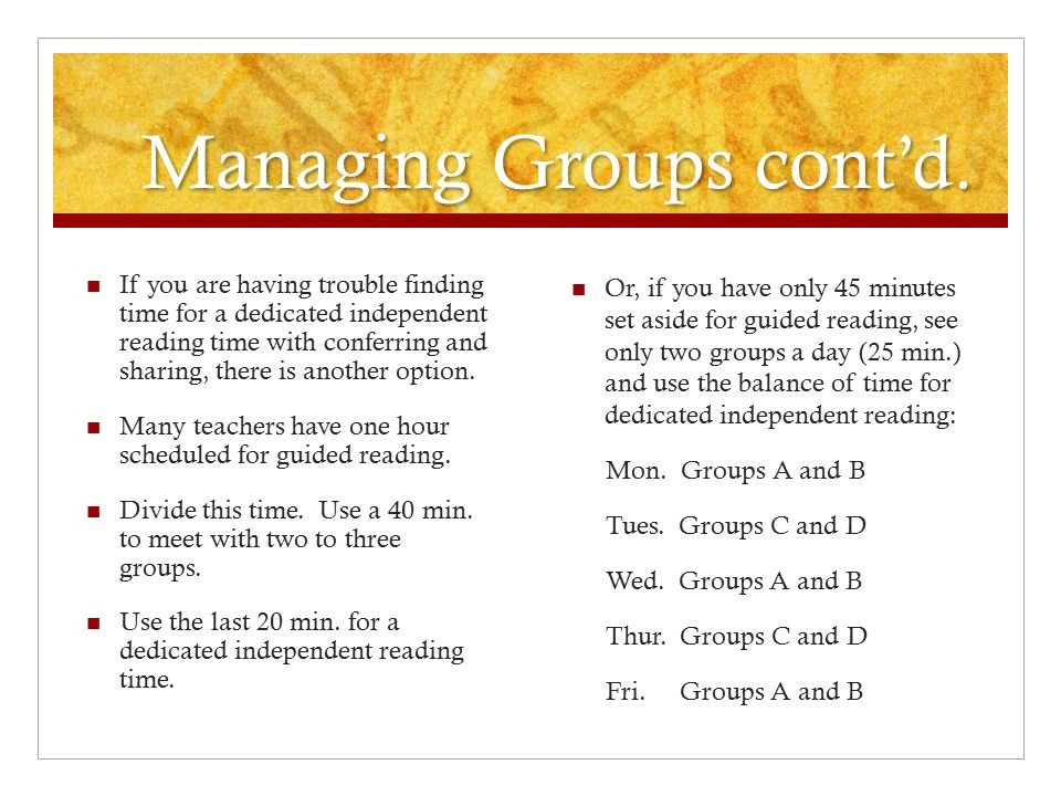 Managing Groups cont'd.