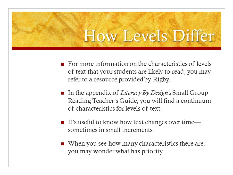 How Levels Differ