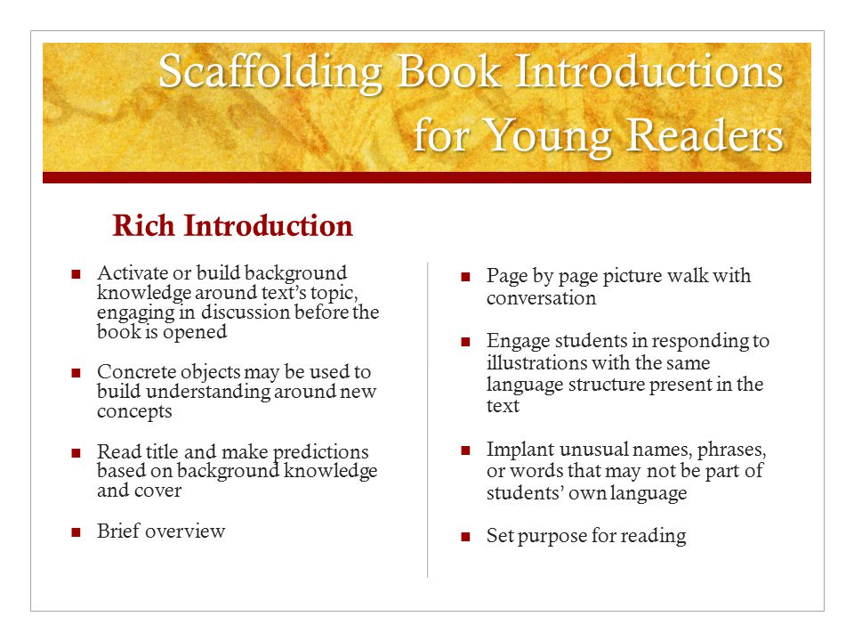 Scaffolding Book Introductions for Young Readers
