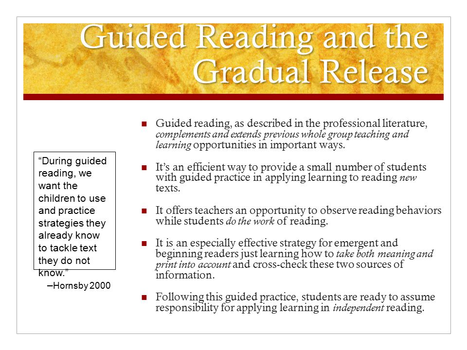 Guided Reading and the Gradual Release