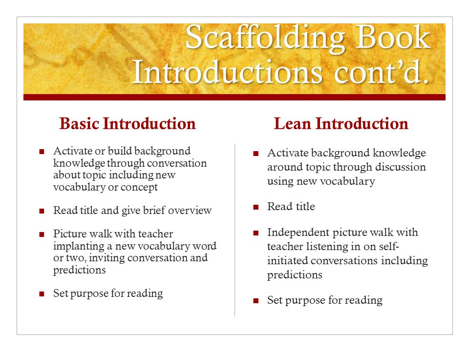 Scaffolding Book Introductions cont'd.