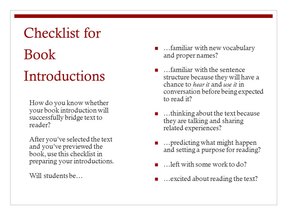 Checklist for Book Introductions
