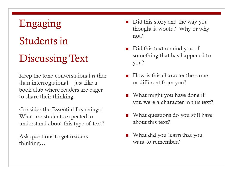 Engaging Students in Discussing Text
