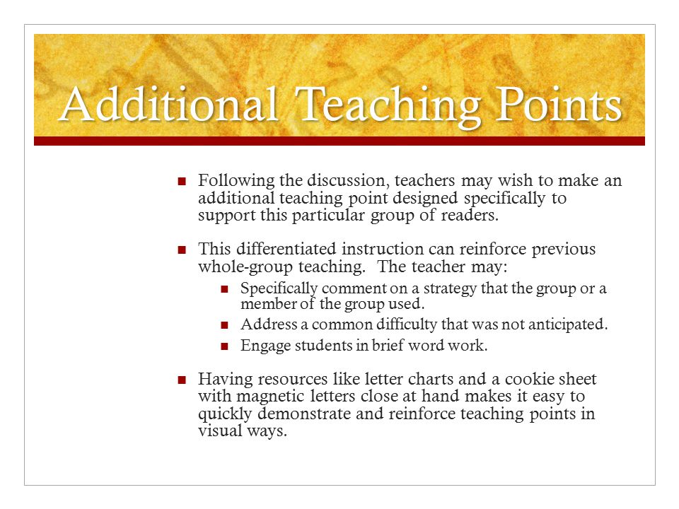 Additional Teaching Points