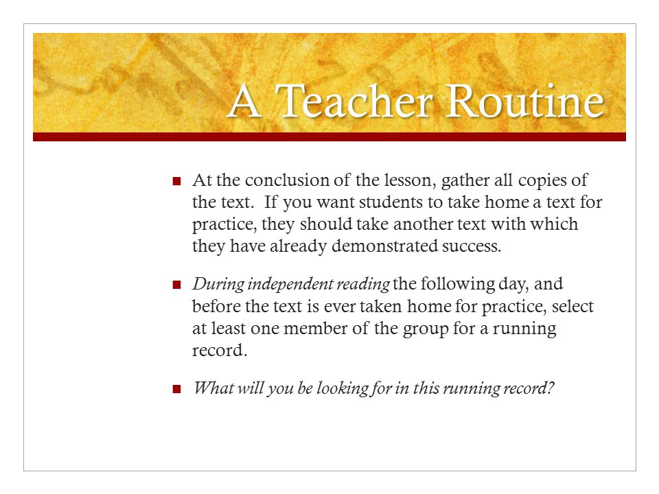 A Teacher Routine