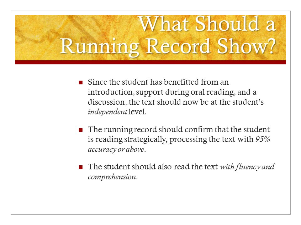 What Should a Running Record Show