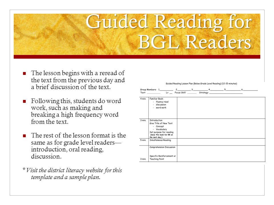 Guided Reading for BGL Readers