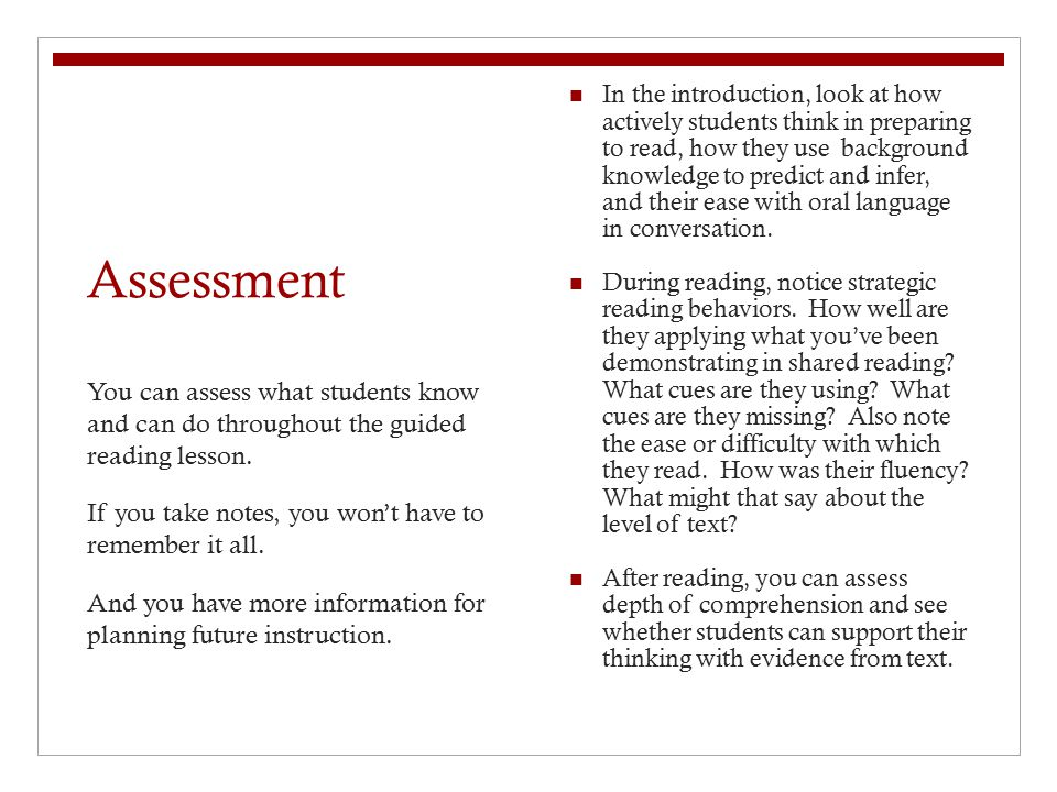 In the introduction, look at how actively students think in preparing to read, how they use background knowledge to predict and infer, and their ease with oral language in conversation.