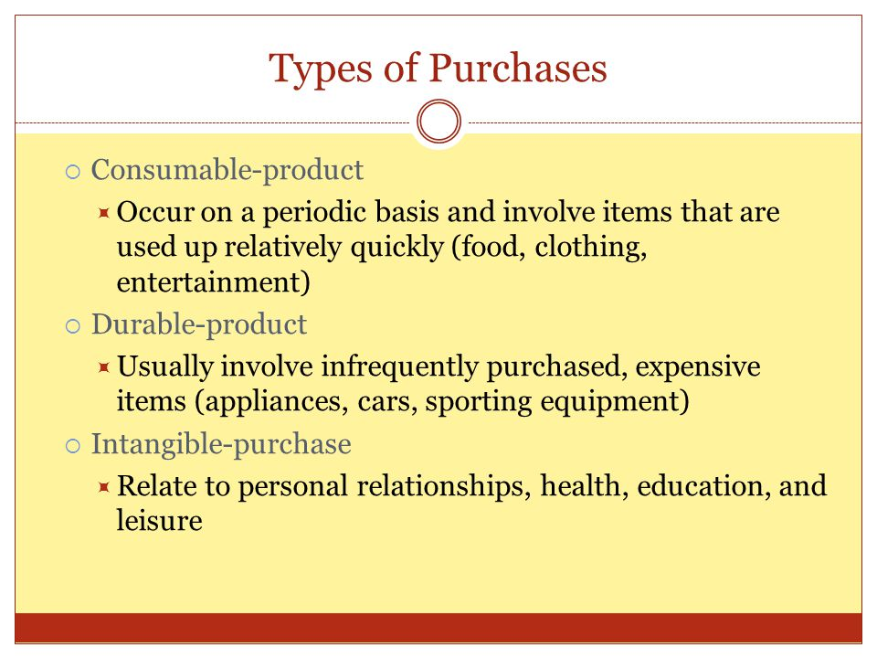 Types of Purchases Consumable-product