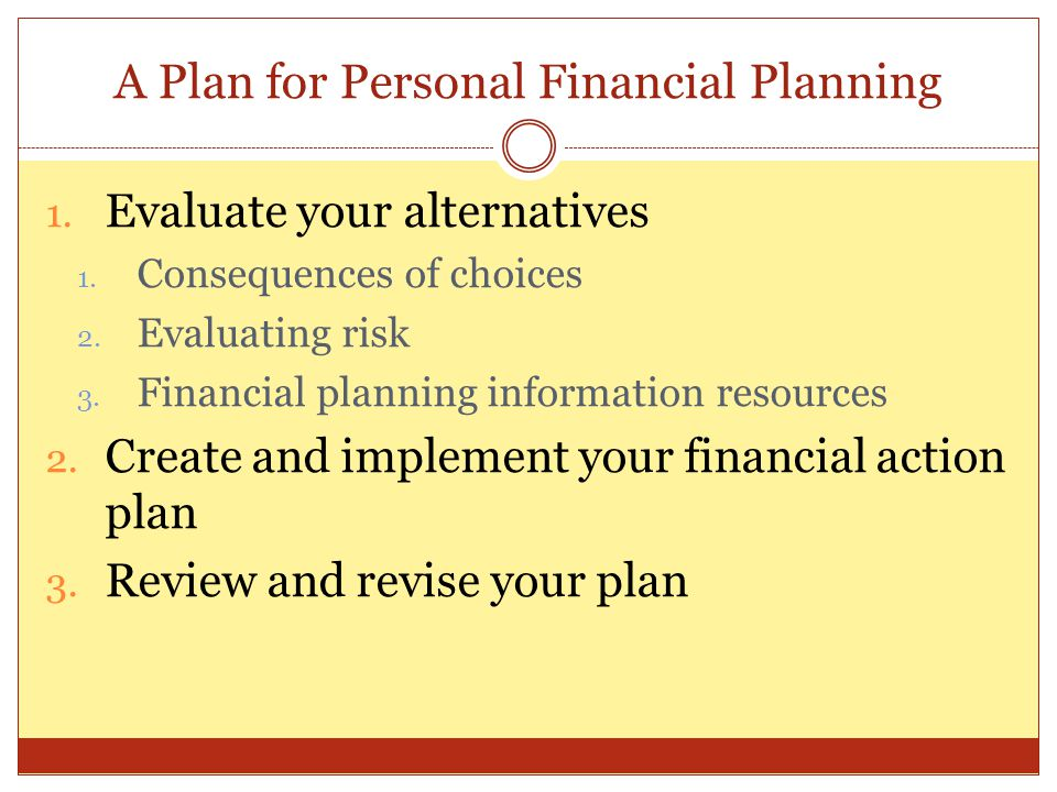 A Plan for Personal Financial Planning