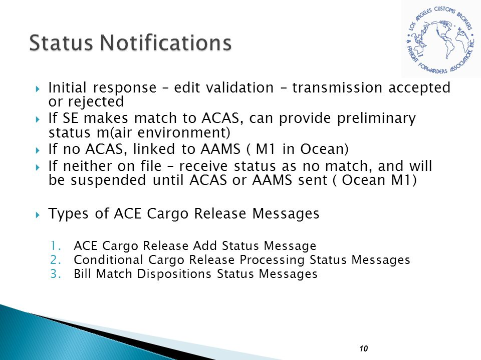 Status Notifications Initial response – edit validation – transmission accepted or rejected.