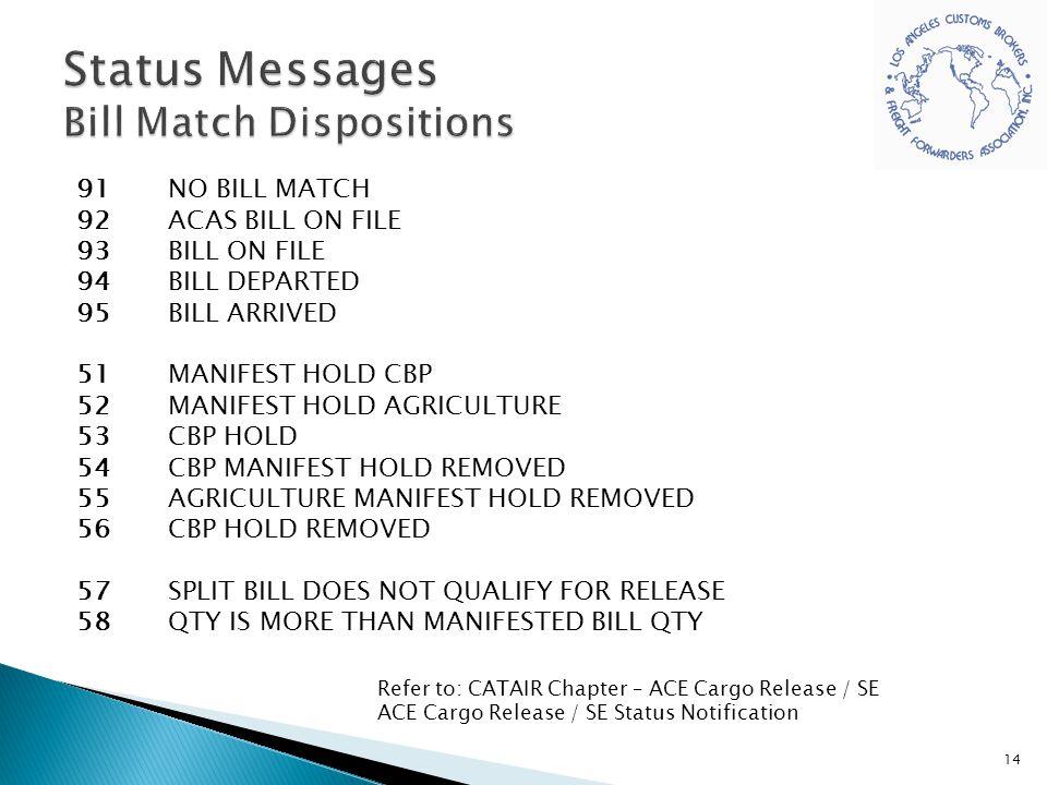 Status Messages Bill Match Dispositions