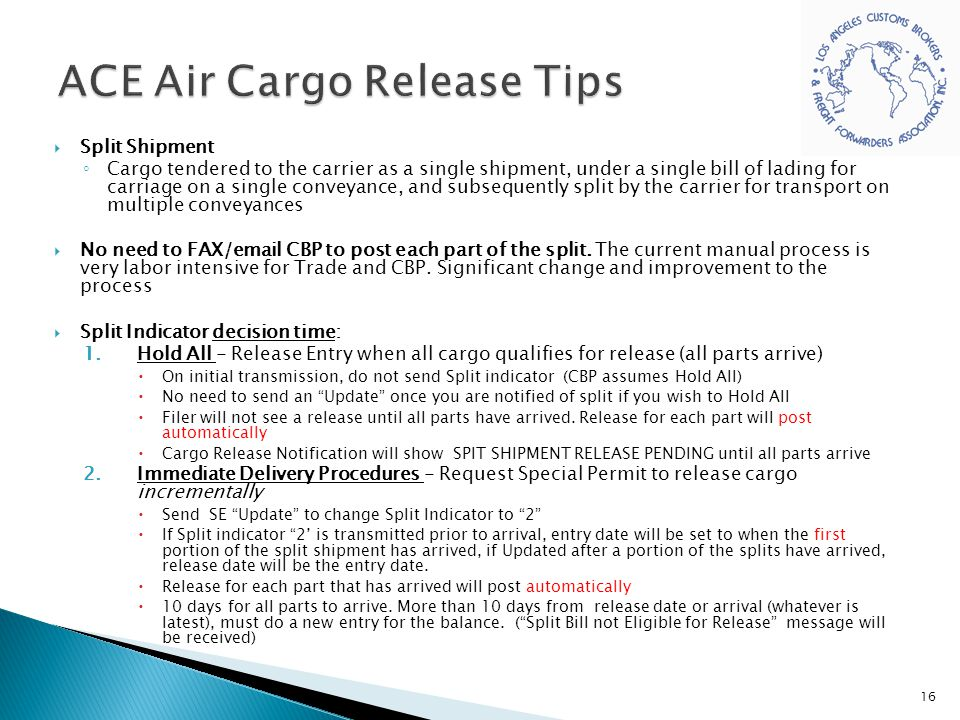 ACE Air Cargo Release Tips