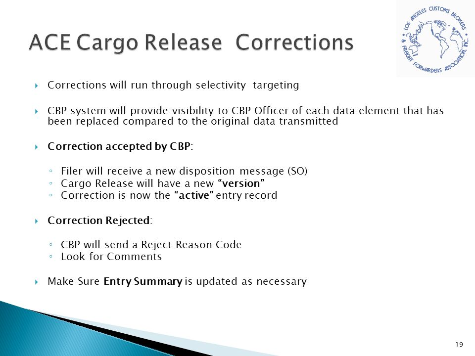 ACE Cargo Release Corrections