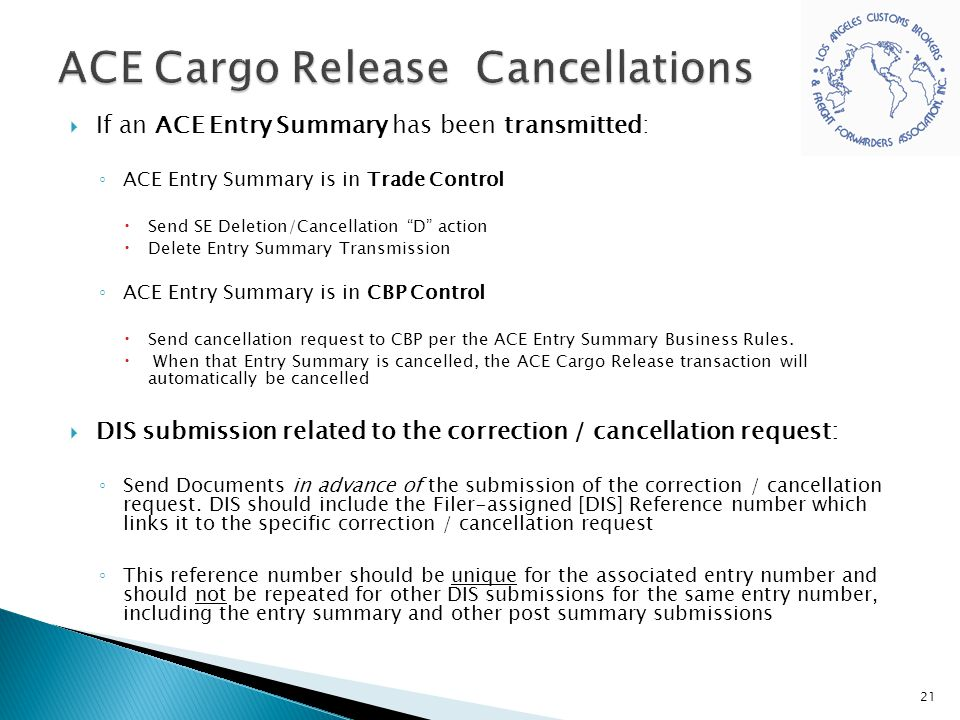 ACE Cargo Release Cancellations