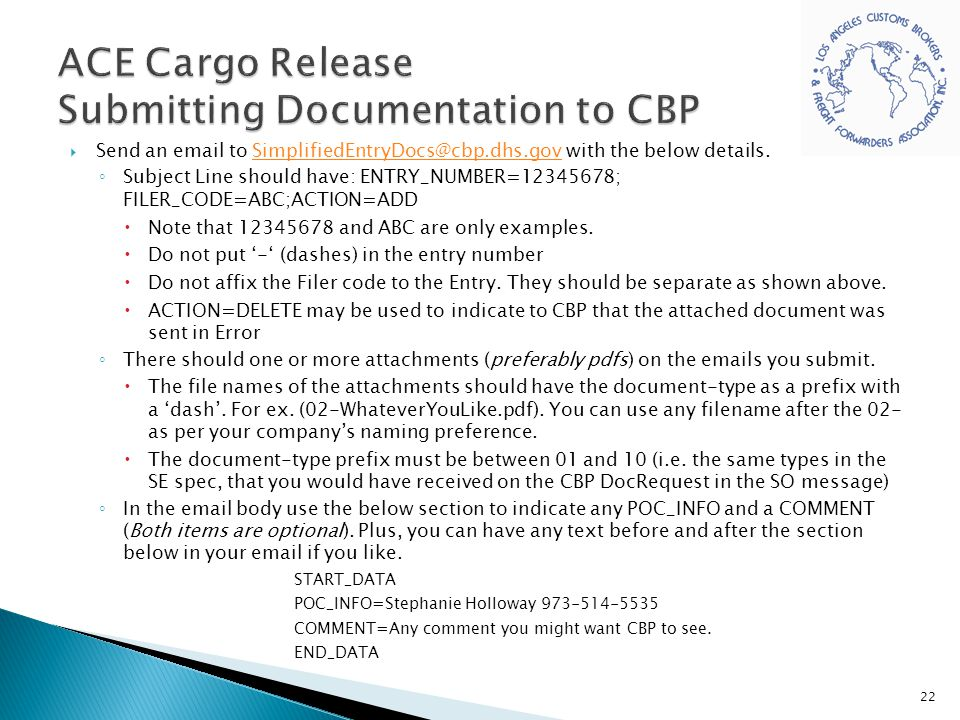ACE Cargo Release Submitting Documentation to CBP