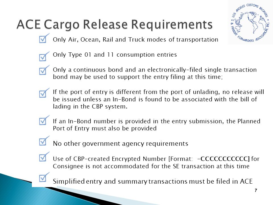 ACE Cargo Release Requirements