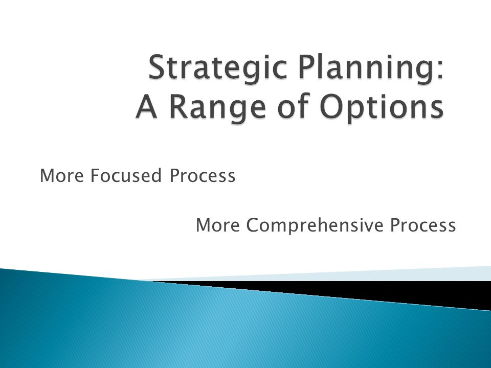 Strategic Planning: A Range of Options
